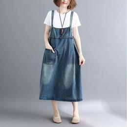 Vestido de mezclilla sin mangas de verano Vestido de mezclilla Hip hop baggy A Line jeans Vestido Vintage Streetwear Loose Jumpsuit vestidos desde fabricantes