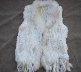Conejo de pelo corto online-Chaleco de piel de conejo de alta calidad que teje la capa corta Chaleco de piel de cuello de piel de mapache Las mujeres de moda europea y americana