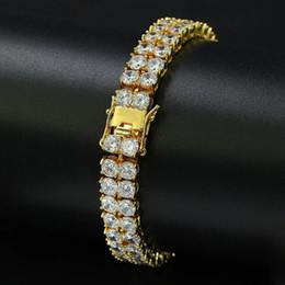 Bracciale gioielli hip-hop da uomo in rame color oro argento ghiacciato out micro pavé di zirconi cubici da 8 pollici 2 bracciali da tennis a righe da pizzo guarisce blu fornitori