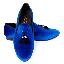 Forro de cuero zapatos de vestir de los hombres online-Harpelunde azul terciopelo borla hombres zapatos de vestir para eventos forro de cuero del dedo del pie redondo envío gratis tamaño EE.UU. 7-14