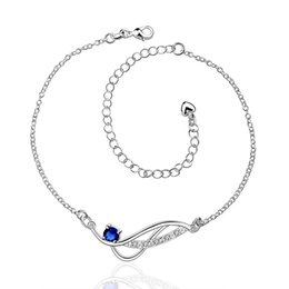 Wholesale Copper Legs - Foot Jewelry Silver Plated Anklets for Girlfriend Women Sexy Body Jewelry Charms Leg Bracelet Korean Anklet