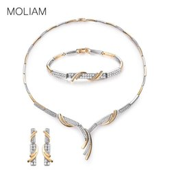 2019 conjunto de jóias de aço inoxidável de urso MOLIAM Nupcial Conjuntos de Jóias de Casamento Mulheres De Luxo Cristal Cubic Zircon Brincos Engagment Bracelet Set Pingente de Colar MLT809