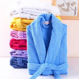 Wholesale sleepwear men long sleeve cotton - Men Women 100% Cotton Terry Bathrobe Lovers Solid Towel Sleepwear Long Bath Robe Kimono Femme Dressing Gown Bridesmaid Robes