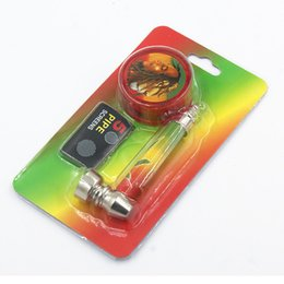 Wholesale Smoke Pipe Gift Set - 1 set Bob Marley plastic grinder and metal smoking pipes for dry herb tobacco pipe with 5 pipe screens 2 type for option