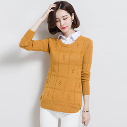 a346e593b4 2017 plus size Autumn Winter Womens Pullover Sweater knit fake two-piece women s  long-sleeved Pullover Cashmere sweaters AS36