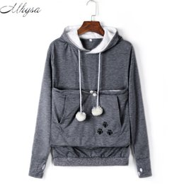 Wholesale Pink Hoodies For Dogs - Mhysa Cat Lovers Hoodies With Cuddle Pouch Dog Pet Hoodies For Casual Kangaroo Pullovers With Ears Sweatshirt Drop Shipping 020