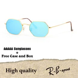 Wholesale Polygon Mirror - High quality Polygon Sunglasses women men Brand Designer Fashion Mirror glass lens Vintage Sport Driving Sun glasses With cases and box