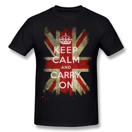Wholesale Large Jacks - Low Price Man Cotton Vintage Keep Calm and Carry On and Union Jack Flag Tee-Shirt Man Round Neck White Shorts Sleeve Clothes Extra large Siz