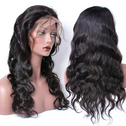 Wholesale Black Ponytails Hairstyles - Malaysian Wavy Full Lace Human Hair Wigs With Baby Hair Ponytail Lace Front Human Hair Wigs Body Wave For Black Women Lace Wigs
