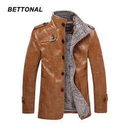 Wholesale mens silver leather jacket - Wholesale- BETTONAL Autumn Winter PU Male Leather Jacket Men Casual Stand Collar Thick Warm Velvet Mens Jackets Faux Leather Coat