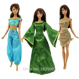 Wholesale fairy tale house - 3x Fairy Tale Dresses Princess Costume Exotic Queen Gown Play House Outfit Clothes For Barbie Doll Accessories Dollhouse Toys