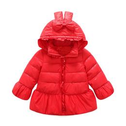 Chaquetas de plumas moradas online-Gorgeous Ruffle 100% White Down Parkas para bebés Chaqueta Wickended Wicked con capucha Abrigos de invierno para niños Red Pink Purple