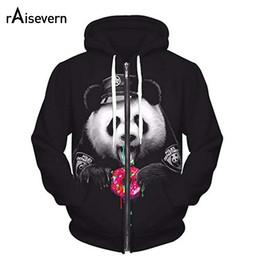 sweat à capuche zippé Promotion Raisevern New Cute Panda Imprimer Zipper Hoodies 3D Mode Hommes Femmes Unisexe Zip Up Sweat À Capuche Tenues Harajuku Tops Dropship