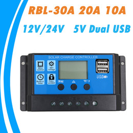 solar panel free shipping Promo Codes - 24V 12V Auto Solar Panel Battery Charge Controller 30A 20A 10A PWM LCD Display Solar Collector Regulator with Dual USB Output Free Shipping