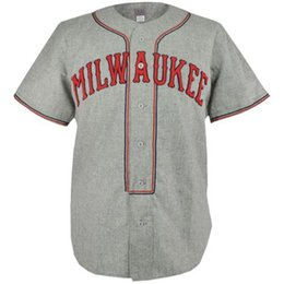 Wholesale Vintage Road - Milwaukee Brewers 1936 Road Jersey 100% Stitched Embroidery Logos Vintage Baseball Jerseys Custom Any Name Any Number Free Shipping