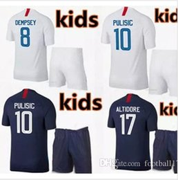 252ec127a7d Top quality 2018 World Cup PULISIC kids kit Soccer Jerseys 18 19 BRADLEY  ALTIDORE DEMPSEY Football jerseys usa boy football shirt kit