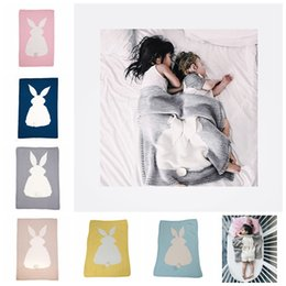 Discount quality baby blankets - High Quality Candy Color Infant Rabbit Blanket Children Cotton Blend Knitted Baby Blanket for Boys Girls Kids