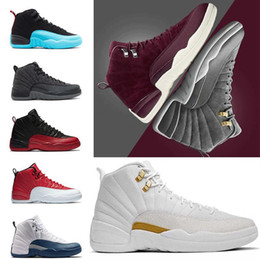 Wholesale Lifestyle Men - 2018 cheap basketball shoes shoes 12 wool obsdn Blue Suede man TAXI Playoff ovo white Gym cherry RED Varsity RED sneaker