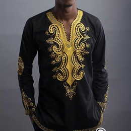 Ropa africana HD 2017 estilo nacional africano dashiki impresión con cuello en v manga larga camiseta de los hombres más el tamaño desde fabricantes