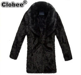 Wholesale men mink fur collar - 3XL Plus Size Casaco De Pele Falso 2018 New Winter Men Faux Fur Coat Elegant Casual Thick Warm Big Fox Fur Collar Mink Coat V486