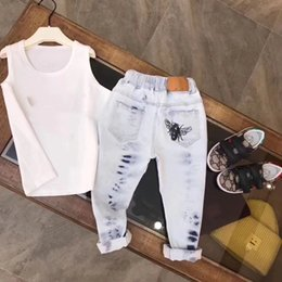 Wholesale Trouser Jeans 5t - 2018 New Solid Boys Jeans Kids Clothes Rushed Summer Light-colored Boys Fashion Jeans Children Trousers Spring Baby Boy Clothes