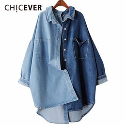 dd901fc463 denim blouses tops 2019 - CHICEVER 2018 Spring Denim Women s Shirts Blouses  Tops Long Sleeve Loose