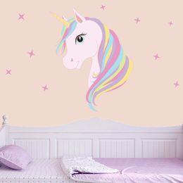 Cavalo impressão on-line-Bonito Unicórnio Mágico Adesivos de Parede Animais Coloridos Cavalo Bling Estrelas Decalques de Parede Para Crianças Meninas Quarto Diy Poster Papel De Parede Decoração de Casa