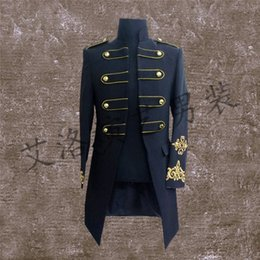 Wholesale Clothes For Nightclub - 2017 fashion men costume long jacket blazer Male royal clothes costumes for singer dancer star performance nightclub bar singer