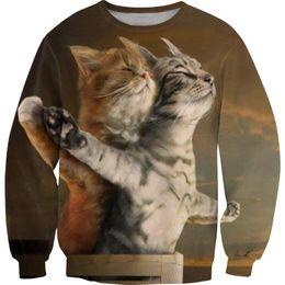 Wholesale Dollar Hoodie - Wholesale free shipping men women harajuku 3d funny cat dollar digital print tracksuit round color hoodies tops sweatshirt
