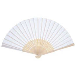 Wholesale Handheld Folding Fans - Practical Boutique 12 Pack Hand Held Fans White Silk Bamboo Folding Fans Handheld Folded Fan for Church Wedding Gift Party Favor