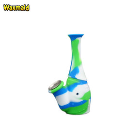 Wholesale mini bottled water - Water Pipe Silicone Bong Flower Bottle Mini Water Bong Unbreakable Dab Rig Smoking Pipe with Metal Bowl