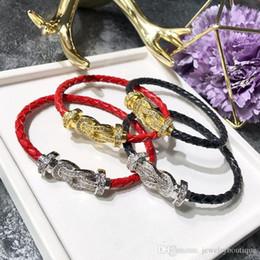 Canada Vente chaude 316L acier au titane double en forme de U avec diamant et bracelet en cuir véritable marque pour femmes et hommes cadeau de bijoux PS5254A Offre