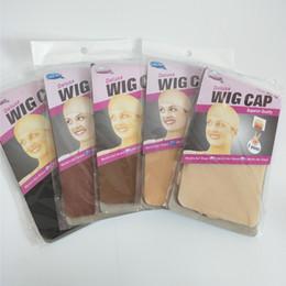 Tapas para las pelucas online-Gorra de peluca de lujo 24 unidades HairNet para hacer pelucas Gorra de lienzo de peluca de color marrón oscuro Snood Gorra de malla de nylon en 5 colores