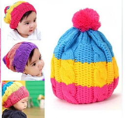 f81a438cea755 Rainbow wool Knitted Baby Winter Cap Beanie Hat Baby Toddler Knitted Children  Hats Boy Girl Cap 5pcs Free Shipping