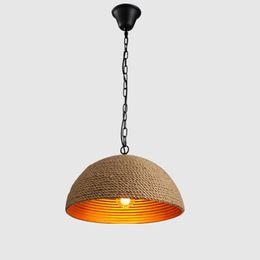 Creativo vintage rotondo led lampadari pendente lampadari per coffee shop bar club hotel decorazione pendente illuminazione canapa corda pendente luci da