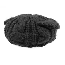 chapeau de laine noir oreille de chat Promotion Mignon Automne Hiver Chat Oreilles En Forme Des Femmes Filles Crochet Tressé Tricot De Laine De Ski Chapeau Chaud Bonnet Bonnet (Noir)
