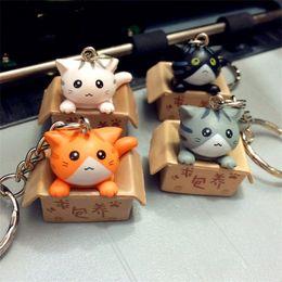 Wholesale cute cat keychains - Cute Mini Cat Doll Key Buckle Seat In Carton Kawaii Design Cheese Kitten Keychain Cartoon Style Keys Ring Charms 1 6mw Z