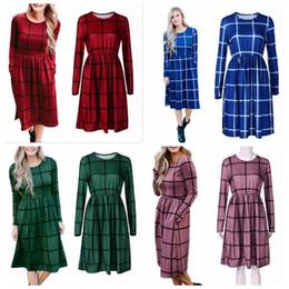 Wholesale Romper Maxi - Plaid Women Dress Long Sleeve Casual Dress Plaid Romper Slim Skirt Ladies Party Mini Shirt Dress 4 Colors OOA4149