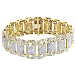 """Wholesale Mens Solid Gold Bracelets - 10K Yellow Gold 11mm Solid Miami Cuban Box Clasp Simulated Diamond Bracelet 8.2""""Mens 10K Yellow Gold Real Diamond 21mm Fancy Statement Brace"""