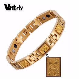 2019 hombres afortunados de oro Vinterly Lucky Pulsera Magnética Hombres Hoja de Oro Chino Guanyin Bodhisattva Buda Pulsera de Germanio para Mujeres Hombres hombres afortunados de oro baratos