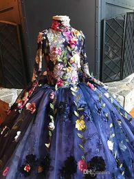 Canada Pageant Robes De Fleurs À Manches Longues 3D Floral Appliqued Broderie Robe De Fille De Fleur Pour Les Mariages À Col Haut Teens Robe De Bal cheap embroidery for weddings Offre