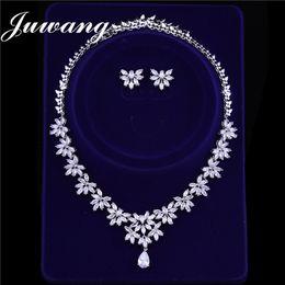 60e359ccc4f3 JUWANG Marca de Lujo Conjuntos de Joyería Nupcial para Mujer Bisutería Cubic  Zircons Dubai Pendientes de Oro Blanco Collar Conjuntos de Boda