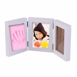 Wholesale Best Photo Box - Pretty Cute Baby Photo frame DIY handprint or footprint Soft Clay Safe Inkpad non toxic easy to use Free ship best gift for baby