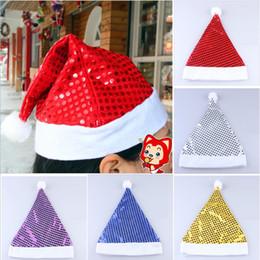 2019 habiller les chapeaux Paillettes de Noël Sheen Santa Hat enfants enfants hommes femmes costumes de fête chapeau habiller les accessoires accessoires de fête 5colors promotion habiller les chapeaux