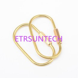 Wholesale d ring climbing carabiner - Golden Hook Brass D Orbits Ring Carabiner Snap Clip Keychain Outdoor Hiking Climbing Buckle Tool QW7656