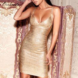robe club dorée métallisée Promotion Ocstrade Summer Dress 2018 Femmes Haute Qualité Metallic Gold Cross Buste Deep v Neck Sexy Robe De Bandage Moulante