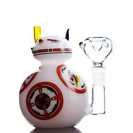 Пары кальяна онлайн-Новое прибытие пара кальян белый кот Perc стекло бонги 20 см робот водопровод 14 мм совместное Бесплатная доставка
