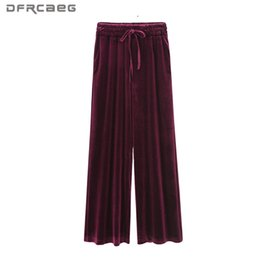 Wholesale Velvet Trousers Women - XL-4XL Plus Size Wide Leg Pants Woman 2017 Autumn Gold Velvet Fashion Pantalon Female Loose Tracksuits Trousers Wine Red Blue