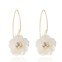 Wholesale mother pearl flower pendant - Shell Flower Earrings Super Fairy White butterfly earrings long Spring and summer girl heart gold plated pendant Earrings 2018 wholesale