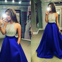 Wholesale long sparkly beaded prom dresses - Royal Blue Ball Gown Prom Dresses 2018 Sexy Jewel Long Prom Dresses Evening Gowns With Sparkly Beaded Bodice For Teens From
